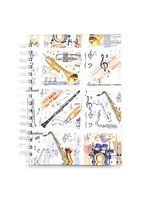 A6 Hardback Spiral Notebook Music Instruments