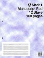 Mark 1 Manuscript Pad 12 Stave 100 Pages