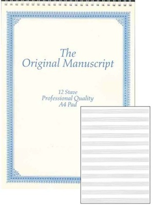ORIGINAL MANUSCRIPT A4 12 STAVE 50PP SPIRAL TOP