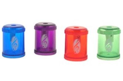 BARREL PENCIL SHARPENER G CLEF ASSTD COLOURS