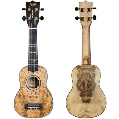 Flight DUS410 QA Quilted Ash Soprano Ukulele with Bag